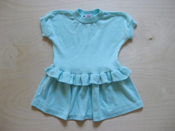vintage kids 1980s T-SHIRT DRESS Mint Pastel Teal Ruffles 2T