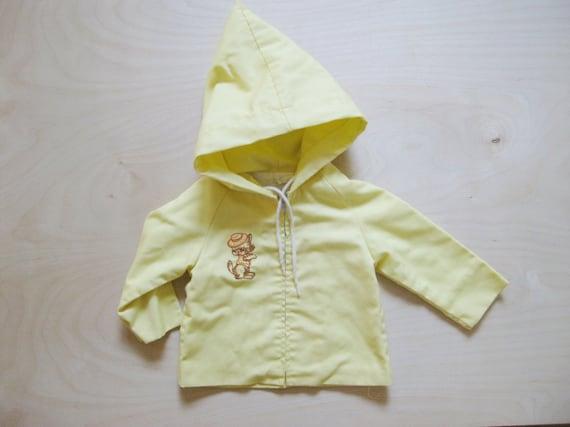 vintage kids SWEET SPRING COAT Yellow Hooded 12 Months