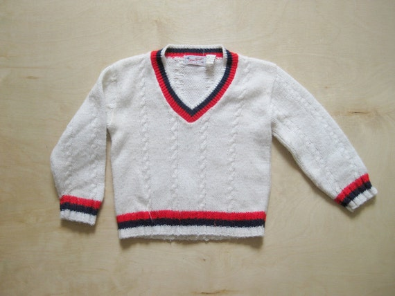vintage kids PATRIOTIC SWEATER Red White Blue 12 Months