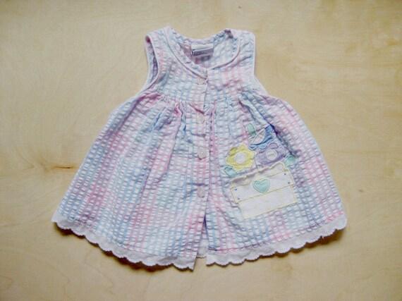 vintage kids GINGHAM TANK DRESS Pastel Summer 12 Months