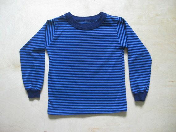 vintage kids STRIPED HIPSTER SHIRT Blue Long Sleeved Size 4