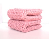 Organic Cotton Crocheted Washcloths Set of Two / Dusty Strawberry Pink