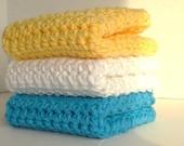 Crocheted Cotton Washcloths Dishcloths Set of 3 Turquoise Blue Sunshine Yellow & Crisp White