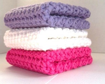 Crocheted Cotton Washcloths Dishcloths Set of 3 Fuchsia, Rich Lilac & Crisp White