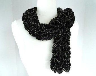 Black Ruffled Scarf with Silver Metallic Edge Accent Hand Knit Super Soft