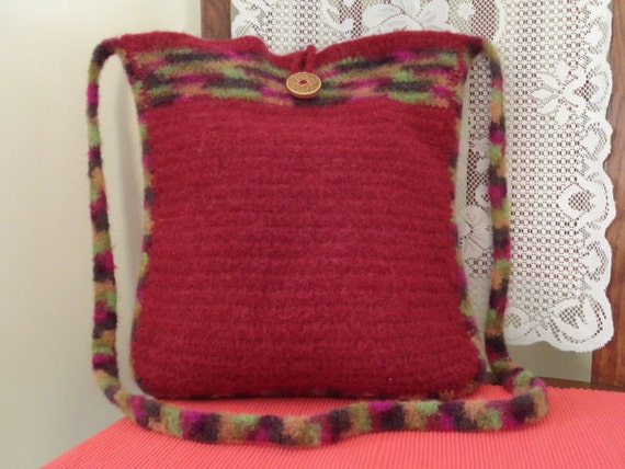 Handmade Burgundy, Red Felted Wool Tote Bag with Ceramic Button Closure.