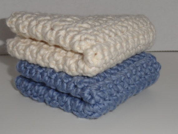 Organic Cotton Crocheted Washcloths Set of Two / Dusty Blue & Almond