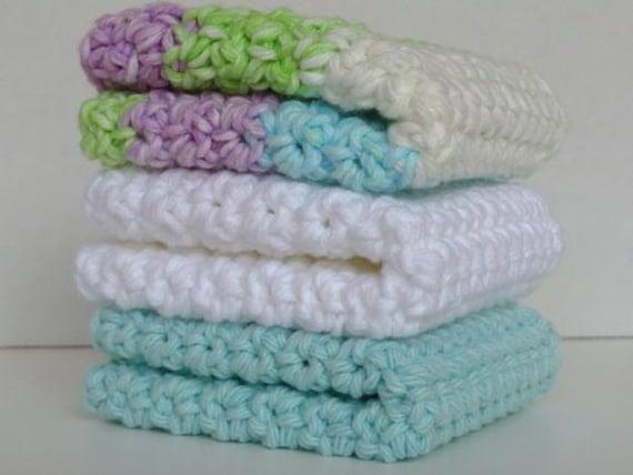 Crocheted Cotton Washcloths Dishcloths Set of 3 in Seaside Colors of Aqua, Crisp White & Aqua Multi