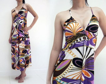 MAXI DRESS 106-14 Multi graphic spaghetti strap casual formal prom long ladies evening party sexy deep v-neck