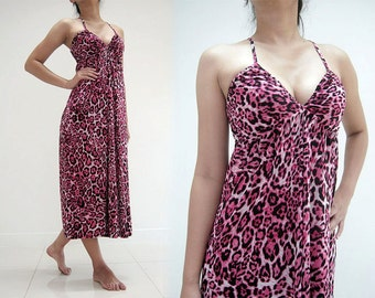 MAXI DRESS 106-09 PINK bigcat tiger spaghetti strap evening party sexy deep v-neck casual formal prom long ladies