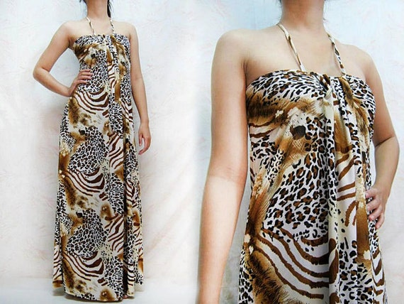 MAXI DRESS 092-10 Leopard graphic spaghetti neck strap evening party sexy casual formal prom long ladies