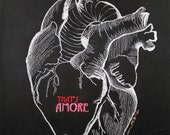 Now that's Amore 11x14 Limited Edition Chalkboard Drawing Print--Anatomical Heart
