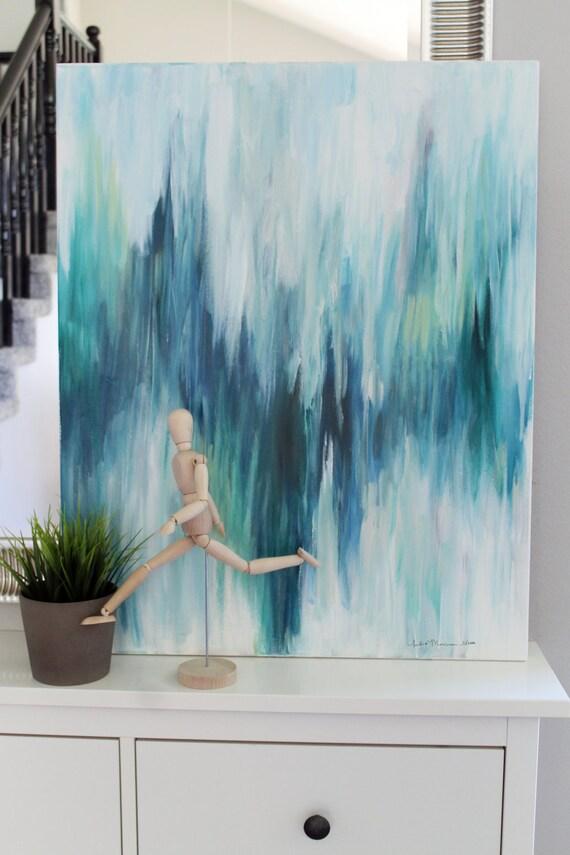 Items similar to large original painting ikat inspired - Pintura azul turquesa ...