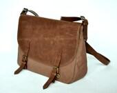 Messenger Bag leather and canvas handbag shoulder bag chocolate brown bag