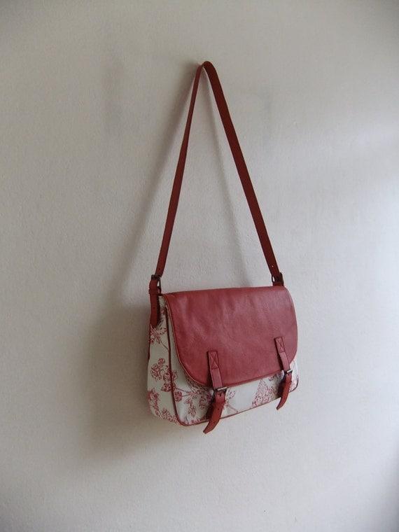 Messenger Bag leather and canvas handbag shoulder bag red floral bag