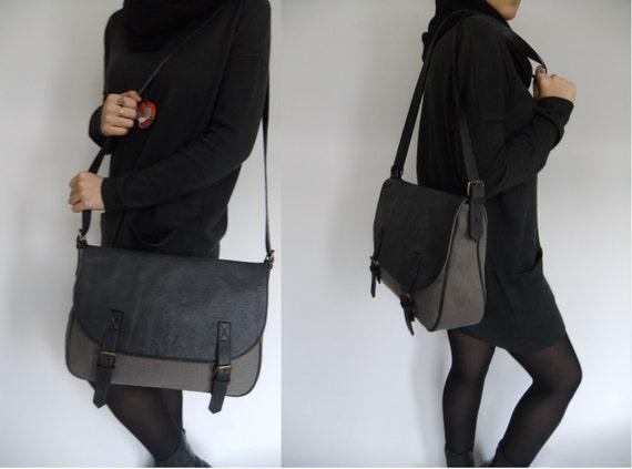 Messenger Bag leather and canvas handbag shoulder bag black grey bag