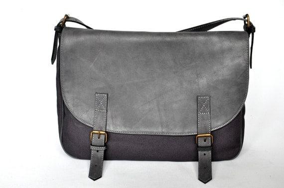 Messenger Bag leather and canvas handbag shoulder bag grey bag