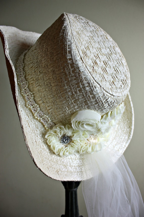 Ivory Cowgirl Ceremony Hat with Shabby Flowers and Veil-Country western Themed Wedding