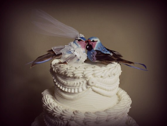 Love Birds  Bride and Groom Wedding Cake Topper in Pink and Blue