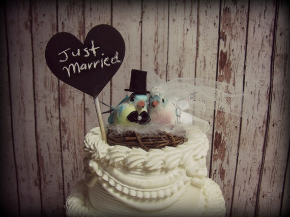 Love Birds Wedding Cake Topper-Blue,Yellow,Pink,and Gray-Something Blue