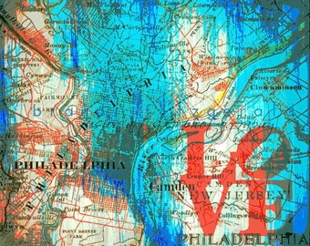 Philadelphia Love Inspired Vintage Map Decor At Checkout, Choose Lustre Print or Gallery Wrapped Canvas
