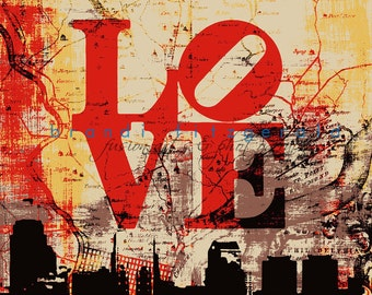 Philadelphia Love Map Skyline At Checkout, Choose Lustre Print or Gallery Wrapped Canvas