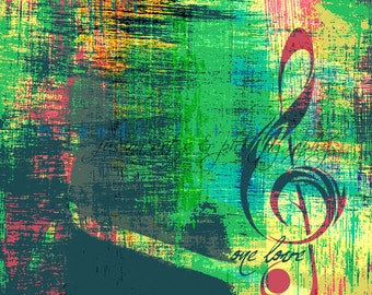 One Love.  Music Note Bob Marley Lyrics At Checkout, Choose Lustre Print or Gallery Wrapped Canvas