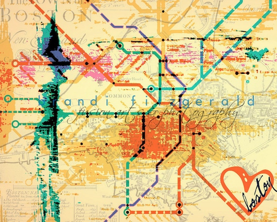 Heart Set on Boston Transportation Decor The T Product Options and Pricing via Dropdown Menu