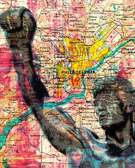 Rocky In Love. Rocky Statue Philadelphia Map Love Park Choose Lustre Print, Canvas or Bamboo Mount