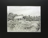 Original Art Drawing in Pencil for Sale Maine Barn in the Field