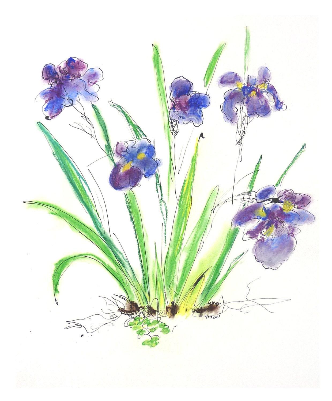 Purple Flowers Drawing Drawing 13