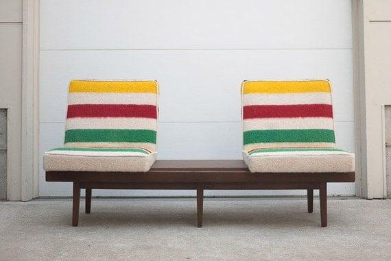 ON SALE Mid Century Hudson Bay Blanket Custom Upholstered Sofa Bench