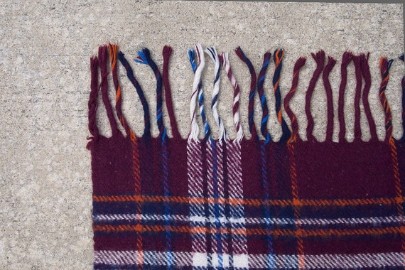 SALE Vintage Plaid Stadium Blanket - Troy - Burgundy, Navy, Blue, Orange, White