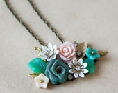 Custom Order for Kotiata Vintage Collection  - Teal and Peach Blossoms