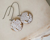 White Ornament textures gold clay earrings by Pardes