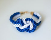 White and Royal Blue Nautical Knot  Rope Bracelet