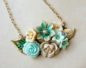 OOAK Gift for Her under 50 Vintage Pendant Teal and Sand Blossoms