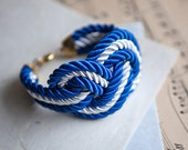 NEW Big White and Royal Blue Nautical Knot  Rope Bracelet
