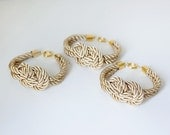 Bridesmaid Wedding Set of 3 Nautical Silk cord Light Gold Bracelet with sailor knot by pardes
