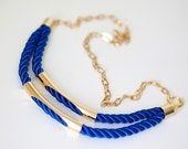 Royal Blue Nautical Cord Necklace with golden chain and tubes