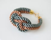 Olive and Copper Nautical Knot  Silk Rope  with anchor knot eight Bracelet