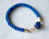 Royal Blue Lapis Lazuli Cube Bead and Cord Bracelet by pardes israel