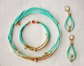 Set Mint Green Leather Necklace, Bracelet and Earrings with Golden Small Stars and Tubes by pardes israel