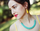 NEW Collection - bright yellow arcylic long drops earrings by pardes israel