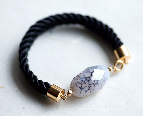 Classical Black and White Rice Faceted agate gemstone Cord Bracelet by pardes israel