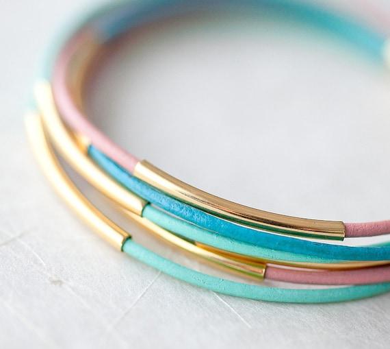 Pastel colors Leather Bracelet with 6 Golden tubes by pardes israel
