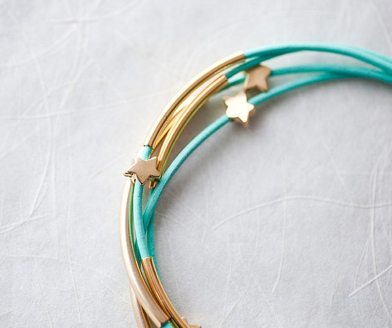 Mint Green Leather Bracelet with Golden Small Stars and Tubes by pardes israel
