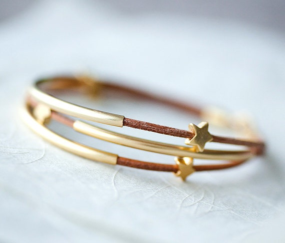 Light Brown Leather Bracelet with Mat Golden Small Stars and Tubes by pardes israel