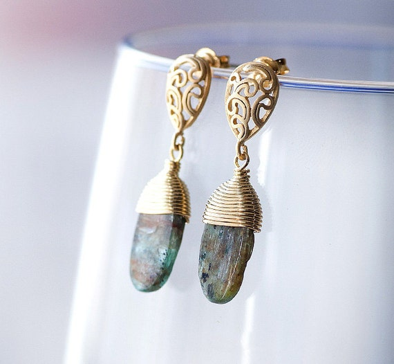 SALE Delicate earrings with Kyanite 16k gold plated  by pardes israel