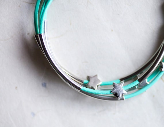 Mint Green Leather Bracelet with Silver Small Stars and Tubes by pardes israel